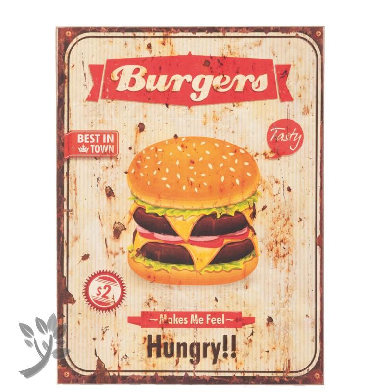 clayre eef t rschild burger hamburger vintage wandbild ho. Black Bedroom Furniture Sets. Home Design Ideas