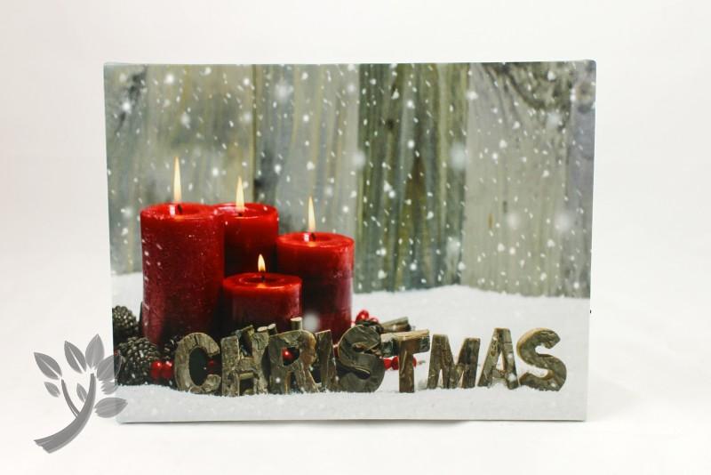 leuchtbild led bild weihnachten wandbild kerzen leinwand holzrahmen 3. Black Bedroom Furniture Sets. Home Design Ideas