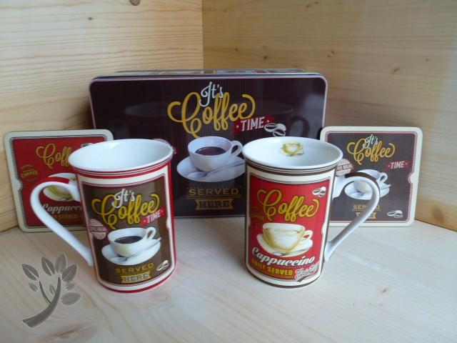 set tasse coffee kaffee 2 tassen 2 untersetzer blechdose cappuccino g. Black Bedroom Furniture Sets. Home Design Ideas