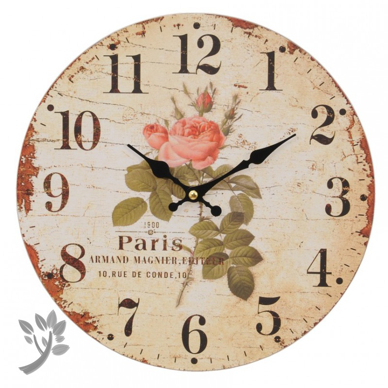 wanduhr rosen uhr paris clayre eef romantik nostalgie k ch. Black Bedroom Furniture Sets. Home Design Ideas