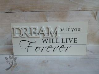 holzschild dream t rschild holz shabby chic creme schriftzug sp. Black Bedroom Furniture Sets. Home Design Ideas