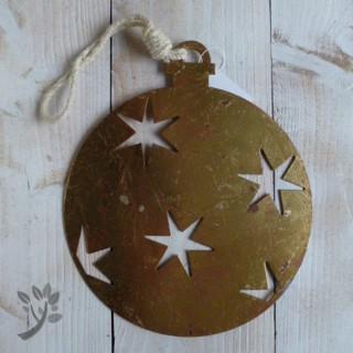 Deko h nger weihnachten baumkugel blech metall h nger gold for Deko aus rostigem blech