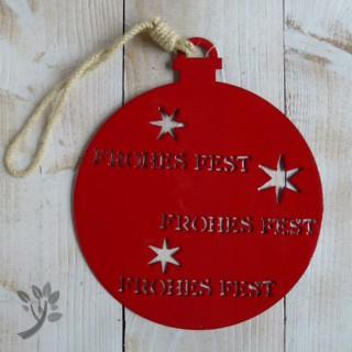 Deko h nger weihnachten baumkugel blech metall h nger rot f for Deko aus rostigem blech