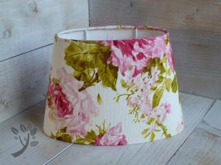 nostalgischer lampenschirm stoff landhaus beige rosa gr n gebl u. Black Bedroom Furniture Sets. Home Design Ideas