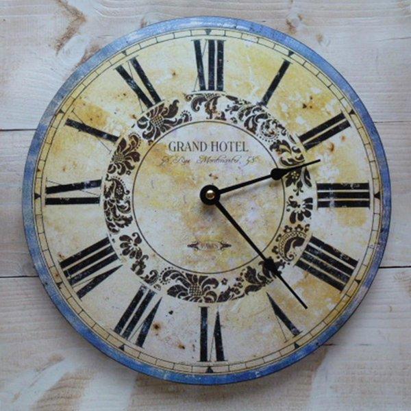Wanduhr Grand Hotel Paris Nostalgische Kuchenuhr Uhr Holz Shabby 29
