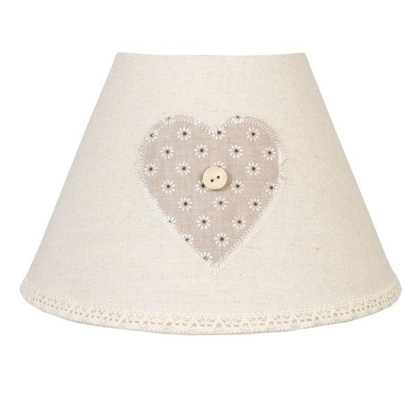 clayre eef lampenschirm beige herz vintage landhaus stil e27 11 90. Black Bedroom Furniture Sets. Home Design Ideas