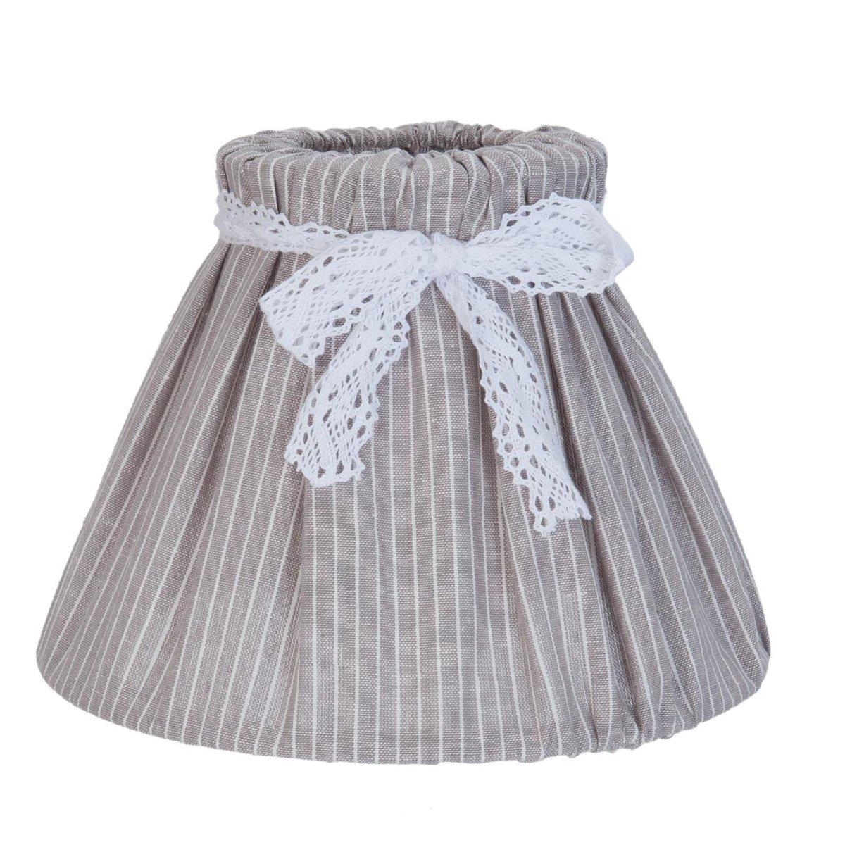 clayre eef lampenschirm landhaus f r stehlampe schleife grau stoff 16 90. Black Bedroom Furniture Sets. Home Design Ideas