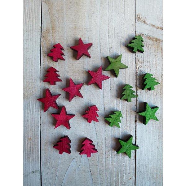 Streuteile Holz Weihnachten Tischdeko Stern Tanne Weihnachtsdeko Rot