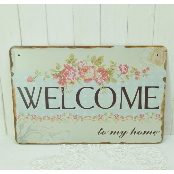Blechschild Türschild Schild Vintage Retro Stil WELCOME to my home 30 x 20 cm